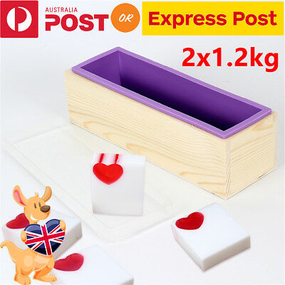 2x 1.2kg Wood Loaf Soap Mould Melt with Silicone Mold Cake Making Wooden Box DIY