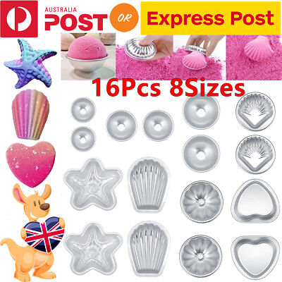 16PCS Round Aluminum Bath Bomb Molds Moulds DIY Homemade Crafting GIFT 8 Size AU