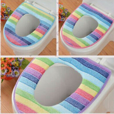 Toilet Seat Soft Cloth Washable Lid Top Cover Pad Bathroom Warmer NEW L