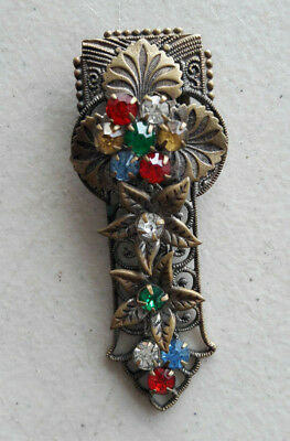 Vintage French Dress Brooch Pin Clip Rhinestone Flower Red Green Blue Yellow