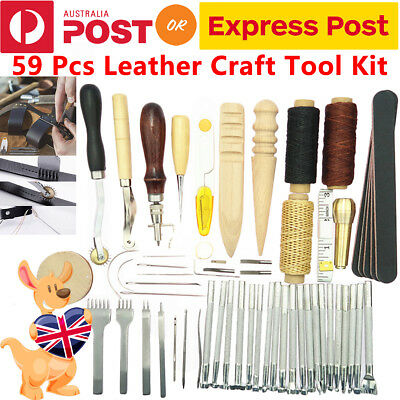 59X Leather Craft Hand Tools Kit Stitching Sewing Stamping Punch Carve Work Set