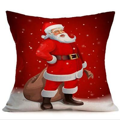 Lovely Home Square Linen Christmas Pattern Cushion Cover Pillow Case Sofa Car L