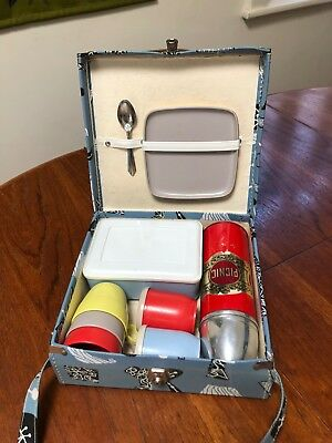 beautiful 50s 60s vintage retro picnic set with thermos excellent condition