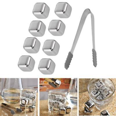 8x Whiskey Wine Beer Stones Stainless Steel Cooler Stone Ice Cube w/ Clip L