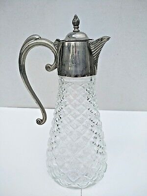 Vintage Cut Glass Decanter / Jug / Pitcher With Silver Plate Neck And Spout