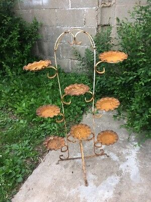 Antique Vintage Wrought Iron Rooftop Garden Plant Stand 8 Tier Violet