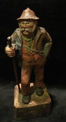 Vintage Hand Carved Wood German Black Forest  Beard Man Figurine Accordion Music