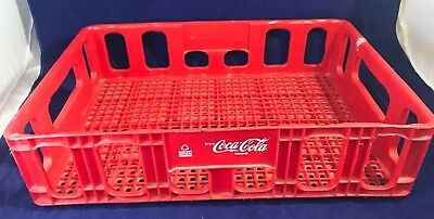 """Vintage Red Plastic Coca-Cola Coke Stacking Bottle Case Crate 18.5' X 12.5"""" x 5"""""""