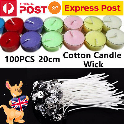 100Pcs 20cm Candle Wicks Low Smoke Pre Waxed Wick w/ Tabs Sustainers Cotton Core
