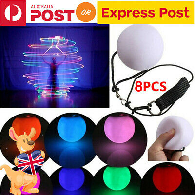 8X Light Up Poi Thrown Balls LED Glow Light Upfor Rave Belly Dancer Hand Prop AU