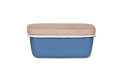 Garden Trading Butter Dish with Wooden Lid in Dorset Blue-Enamel, 10 x 15.5 x 10