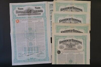 Kingdom Of Roumania Consolidation Loan 1922 Of £ 10 & 100 Sterling  X 5 Bonds