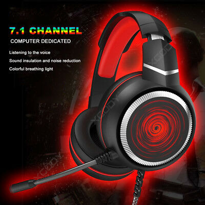 7.1 Virtual Sound Gaming Headset USB LED Stereo Headphones with Mic for PC PUBG