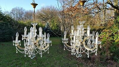 A Pair of Vintage French 10 Light Maria Theresa Chandeliers (D5)