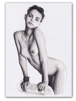 Female Nude Original Colored Pencil Drawing Girl #3102 A4
