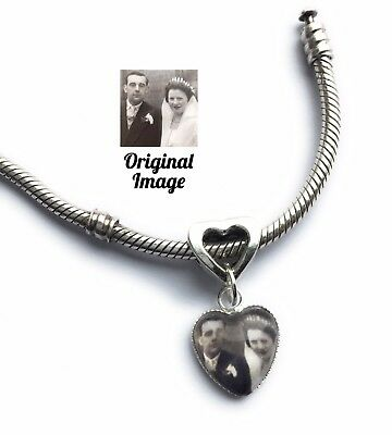 Personalised Photo Charm Memory Gift Love Heart Valentine Bracelet Not Included