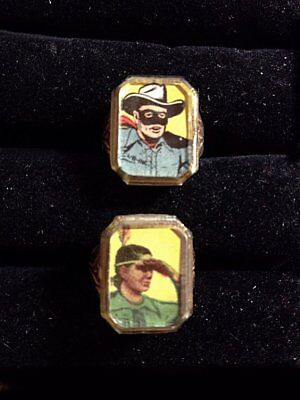 Gumball Charm The Lone Ranger Rings  King Features 50's Gold Non Flicker Tonto