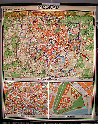 Schulwandkarte City Map Moscow Moskow Москва City Map 109x133 1962 Vintage Wall