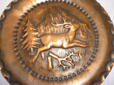 VINTAGE COPPER WALL PLAQUE - EMBOSSED COPPER - DEER STAG, MOUNTAIN, FOREST 24cm