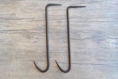2pc Vtg large wrought Iron Meat Hanging BUTCHERS Hook forged farm decor tool 13""