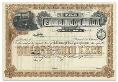 Chattanooga Union Railway Company Stock Certificate (Tennessee)