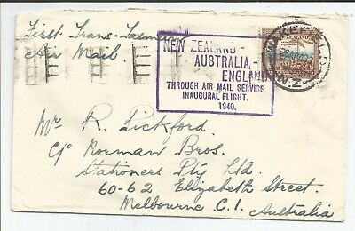 1940 Australia - New Zealand - England inaugural first flight cover