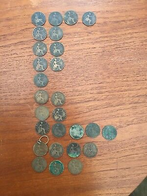 Job Lot of 27 Old Penny Coins from 1900-1909