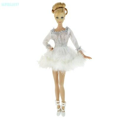 White Fluffy Ballet Outfit Dancing Mini Dress Shoes Clothes For 12 in. Doll Cute