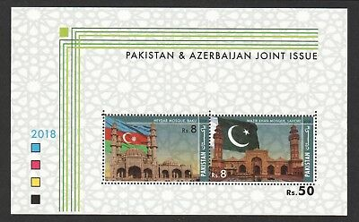 Pakistan 2018 Mosque Joint Issue With Azerbaijan (Flags) Souvenir Sheet 2 Stamps