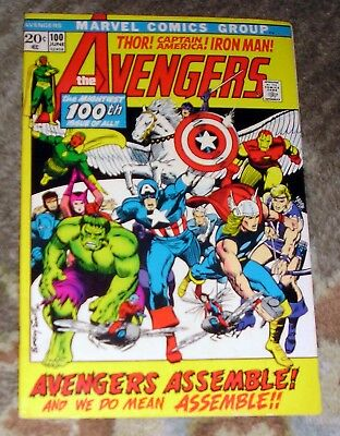 """Vintage 1972 (1st Series) MARVEL COMICS """"The Avengers"""" #100 STAN LEE Barry Smith"""