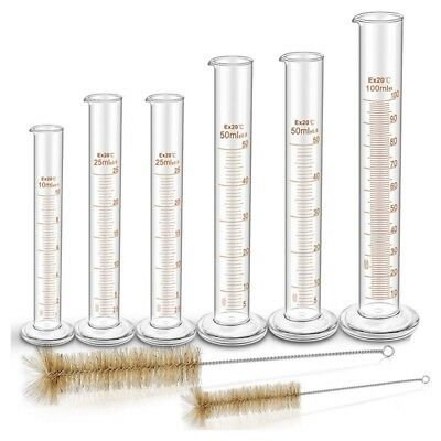 4X(Thick Glass Graduated Measuring Cylinder Set Glass With Two Brushes L6C5)