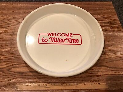 """Vintage Plastic Welcome To Miller Time Beer Tray; 13"""" Diameter"""