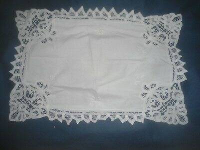 "A Very Pretty White Cotton Tape Lace  Embroidered Tray Cloth 17.75"" X 12"""