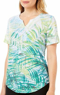 Coral Bay Petite Tropical Palm Leaf Short Sleeve Top