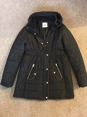 Black Maternity Quilted Coat, Mamalicious, Size Medium, Black, Gold & Brown Trim