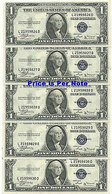 1935-B $1 Silver Certificate -- 1 Note Of 5 Consecutive Gem Crisp New Notes !