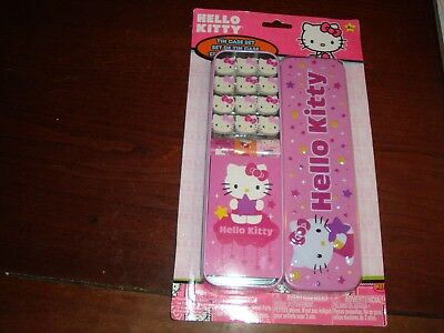 NEW HELLO KITTY Metal Tin Pencil Box Case W/ Memo Pad, Stickers and Erasers