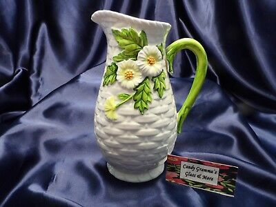 Vintage Lefton #4125 Basketweave Floral Daisy Pitcher
