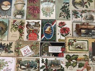 Nice Lot of 25 Vintage 1910 Christmas Holiday Postcards Antique-in Sleeves-a638