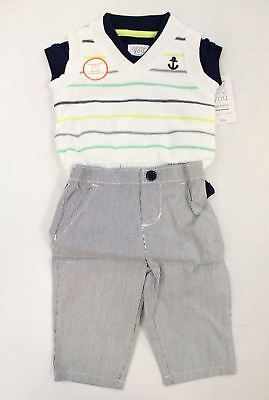 6e85c1b753c6 Just One You by Carter s Boy s 3pc Striped Sweater Vest Set AB4 Navy Size  ...