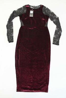c4440497ac7 Boohoo Women's Shea Velvet & Lace Bodycon Dress JZ7 Wine/Black Size US:6