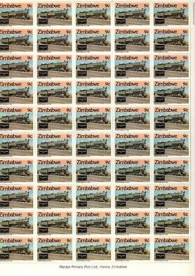 1985 ZIMBABWE  - STEAM SAFARIS 9c MINT FULL STAMP SHEET FROM COLLECTION RF3