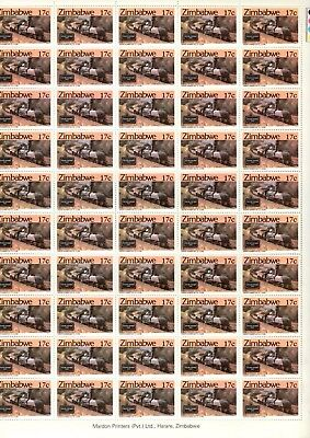 1985 ZIMBABWE  - STEAM SAFARIS 17c MINT FULL STAMP SHEET FROM COLLECTION RF5