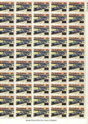 1985 ZIMBABWE  - STEAM SAFARIS 30c MINT FULL STAMP SHEET FROM COLLECTION RF6