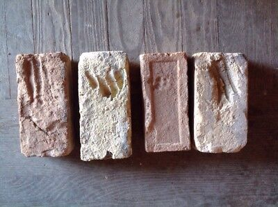 Lot Of 4 Antique Brick Stamped  With Hand/critter Prints  ***
