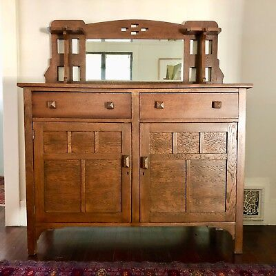 Arts and Crafts Oak Sideboard Buffet Great Condition