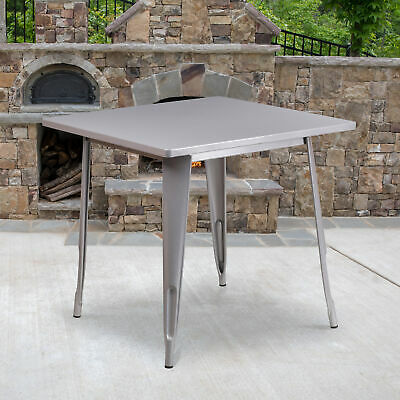 """Commercial Grade 31.5"""" Square Colorful Metal Indoor-Outdoor Dining Table"""