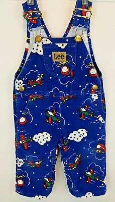 Vtg LEE Baby Toddler Royal Blue Corduroy Overalls 12 Months USA Airplanes Clouds
