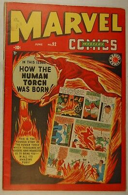 "Marvel Mystery Comics #92 (June 1949, Marvel) ""How the Human Torch was Born!"""