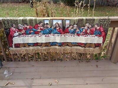 VINTAGE THE LAST SUPPER BY DAVINCI TAPESTRY WALL HANGING,66 INCHES x 24 INCHES